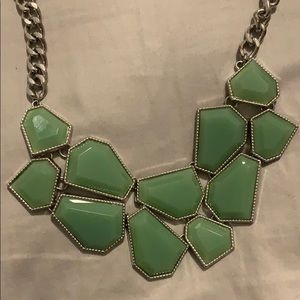 Subtle Green Geometric Statement Necklace